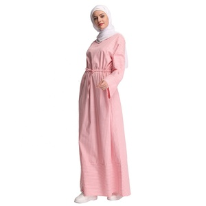 New arrival maxi dubai dress stripe soft crepe islamic clothing fashion women long abaya