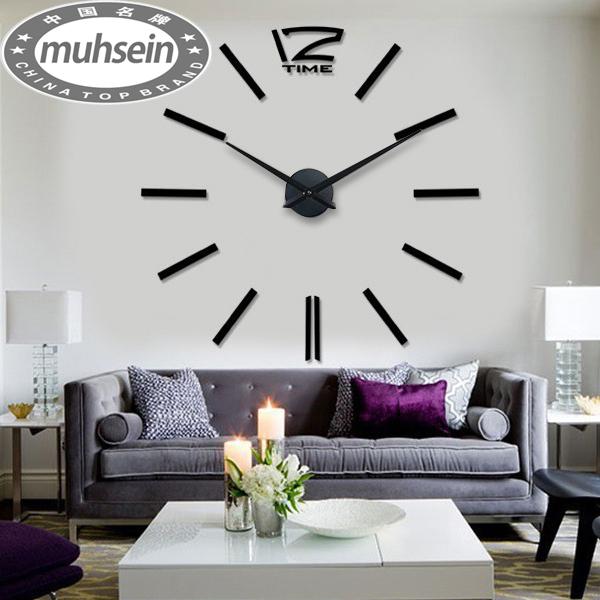 5b58f54320e free shipping fashion 3D big size wall clock mirror sticker DIY wall clocks  home decoration wall