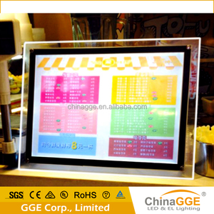 Acrylic led poster frame crystal plastic advertising LED picture light box glass menu poster board led backlight for sign board