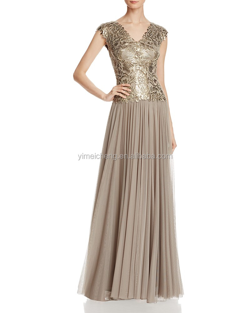 Gold elegant latest design formal evening gown for women pretty lady prom gown