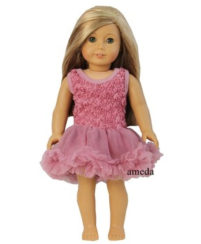"18"" American Girl Doll Romantic Dusty Pink Rosettes Party Dress Clothes"