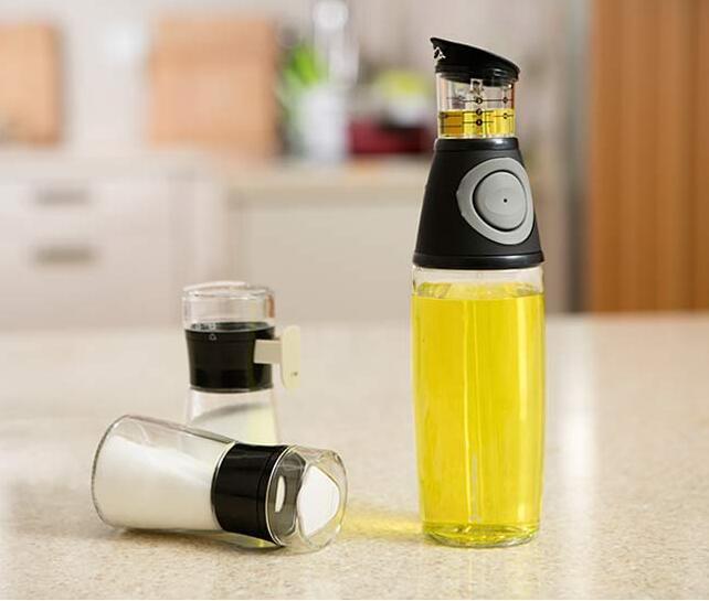 Oil And Vinegar 500ml Glass Press And Measure Dispenser No Drip - Buy 1oil And Vinegar 500ml Glass Press Bottle,Olive Oil Glass Dispenser Pump Bottle With Measuring Cup,500ml Olive Oil Glass Drip