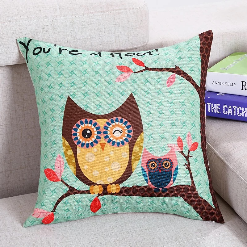 Decorative pillowcase 180g linen printed owl London pillowcase cushion cover is of the best quality