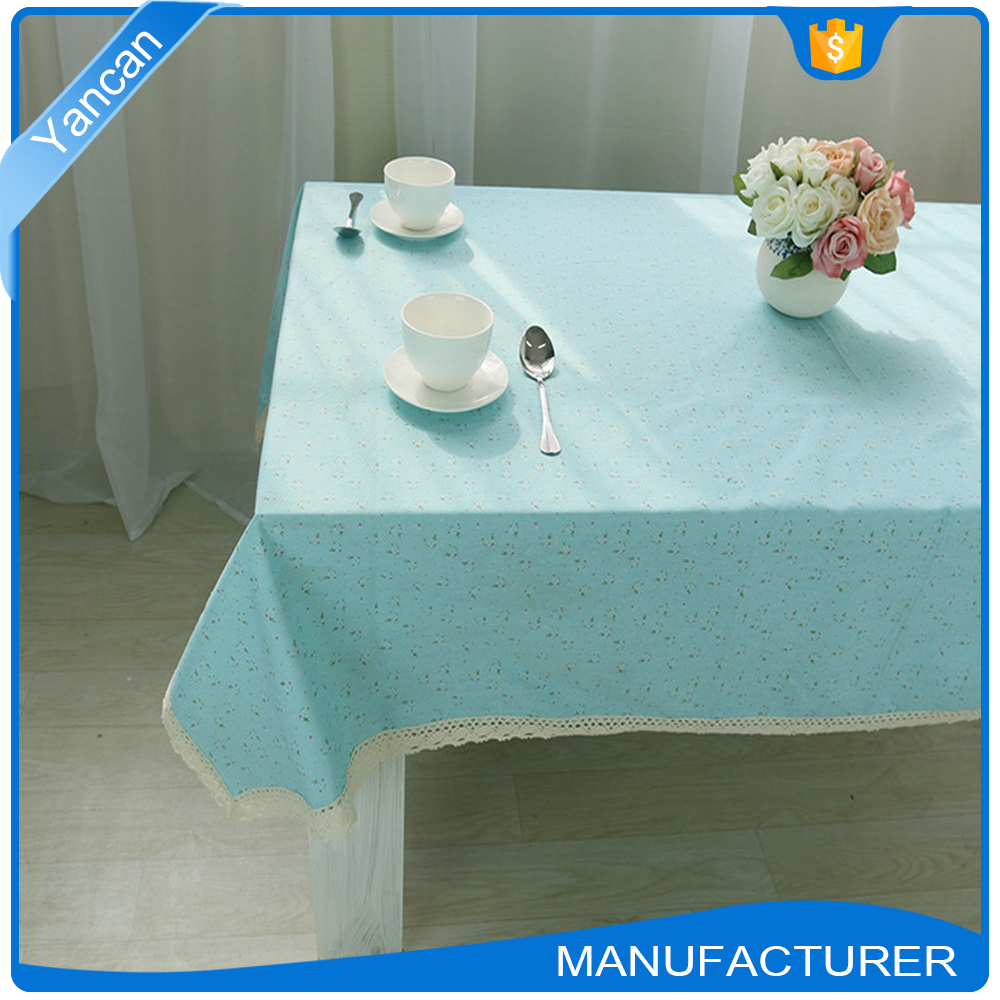 Quality Linen Rectangular Fitted Pastoral Style Table Cloth
