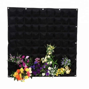 81 Pockets Planting Bags Wall Hanging Gardening Planter Outdoor Indoor Vertical Greening Grow Bag Container, black