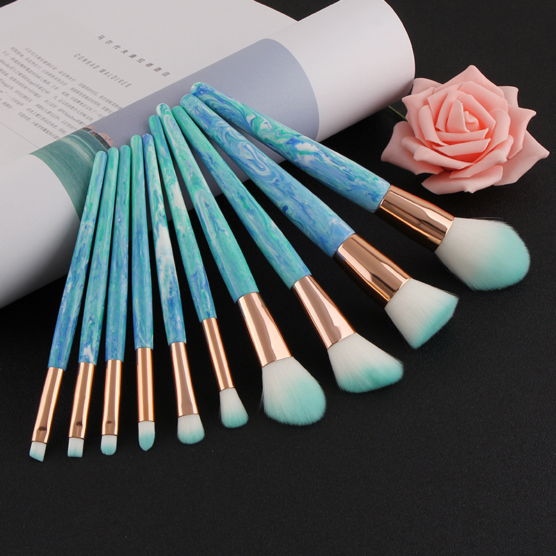 20% Off Custom Logo Private Label 6pcs 8pcs /set Make Up Brushes Marble Professional Makeup Brush Set with pu bag