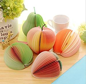 Memo Notes 3D Fruit Shape Non-Sticky, Cute DIY Memo Pads, Kawaii Colorful Fruit Stationery, Creative Three-dimensional Table Decoration Post Notepads, Pack of 5 ( Apple/ Lemon/ Watermelon )