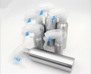 Free sample silver 50ml 100ml 250ml 16oz aluminum spray bottle with trigger pump