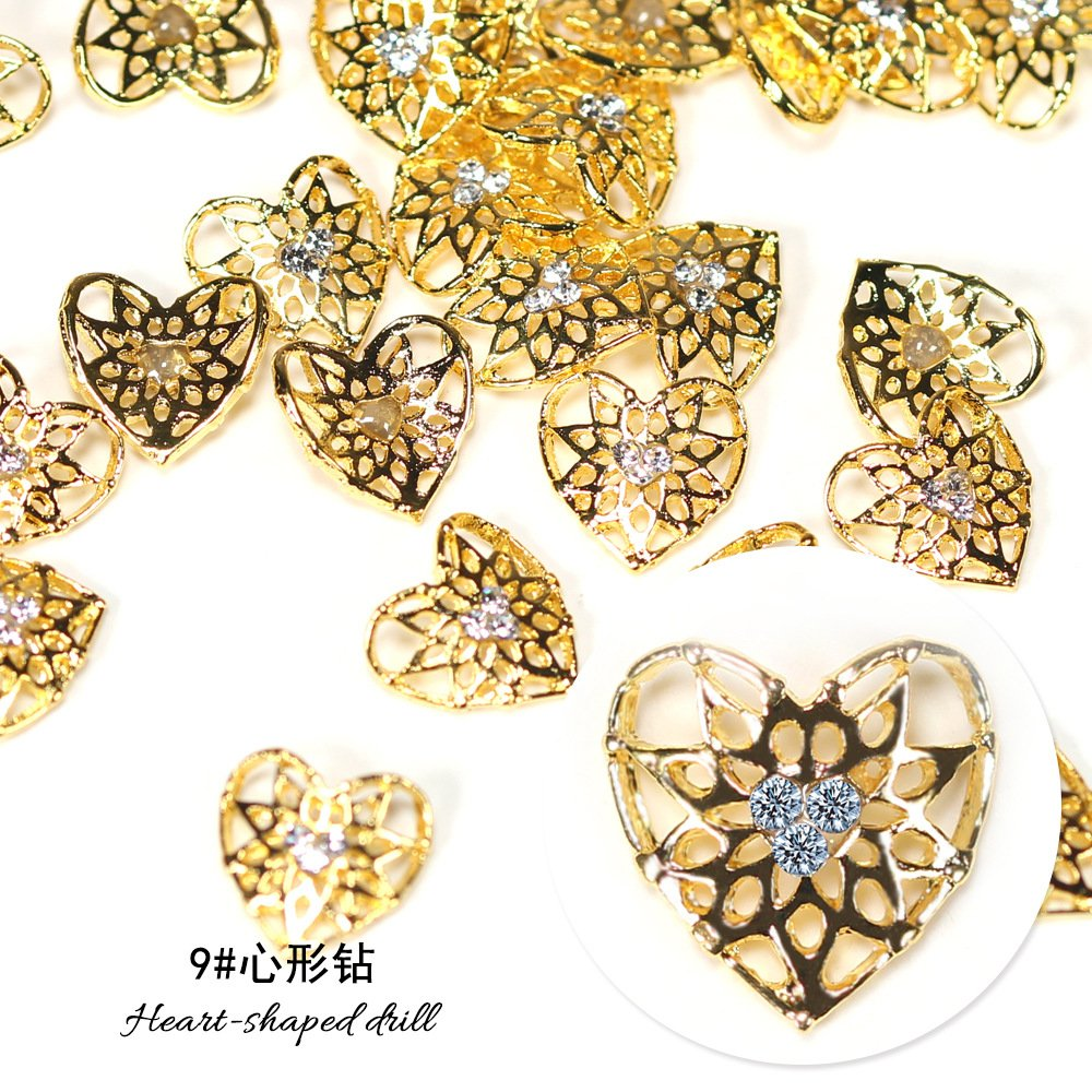 10pcs Gold Silver Metal Drill Crystal Decorative Nail Art Rhinestones Star Alloy 3d Charms Decorations Glitter Nail Jewelry Manicure Accessories (9# heart-shaped drill)