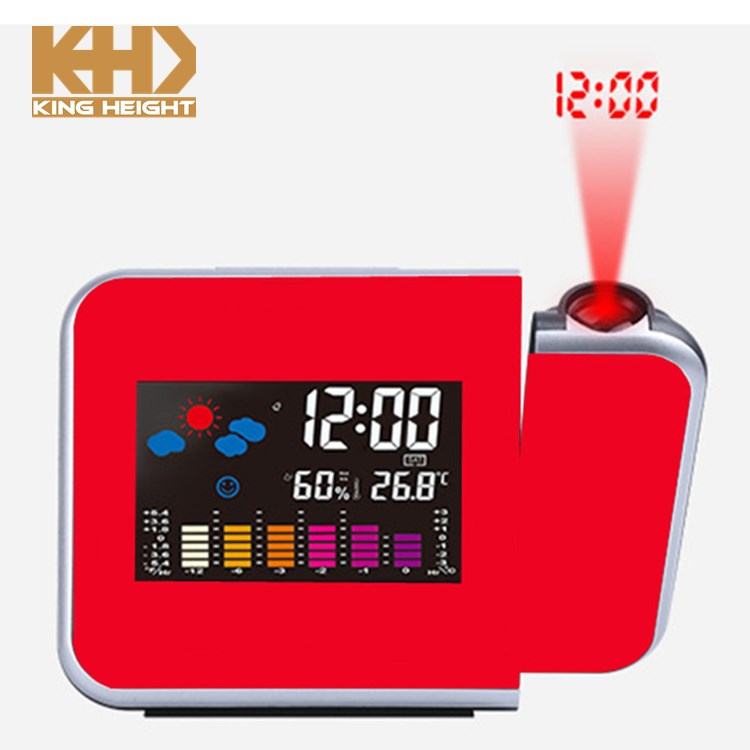 KH-0123 Table LED Back Light Desk Colorful Digital Projection Alarm Weather Station Clock