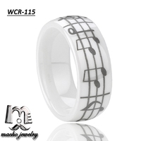 Macho fashion men & Women party wedding engagement white ceramic ring with laser