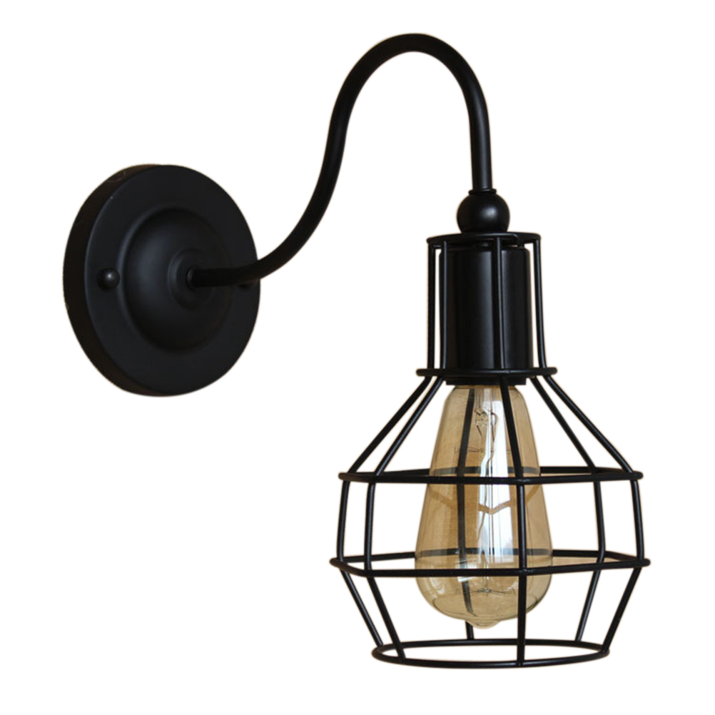 110V-120V Vintage Retro <font><b>Industrial</b></font> Cage Wall sconces lamp minimalist aisle bed balcony cafe <font><b>home</b></font> mini <font><b>decorative</b></font> wall light