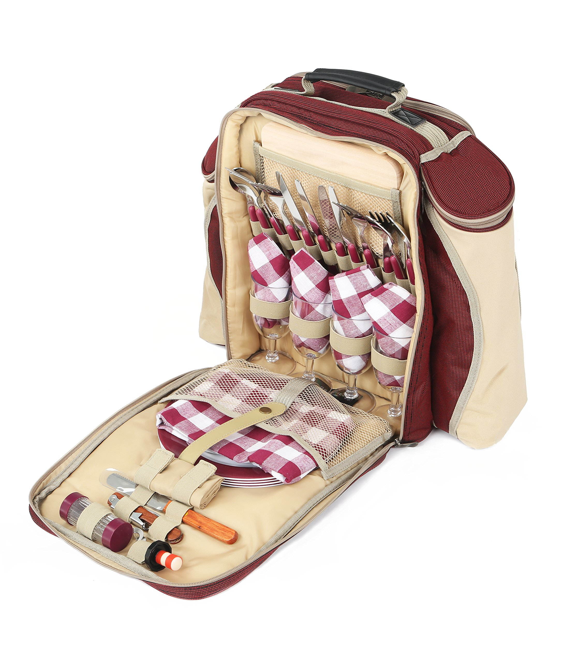 Greenfield Collection Deluxe Picnic Backpack Hamper for Four People in Mulberry Red - Fitted Backpack Range