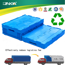 ZJXS604021CPlastic Industry Strong With Cover Clock Foldable Stackable Logistic Turnover Box/Crate/Bin/Container