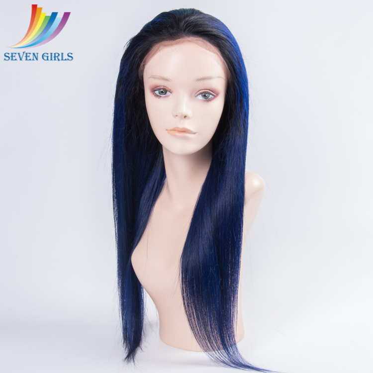 Qingdao Factory Wholesale Price Ombre Dark Blue Silky Straight Full Lace Wig With Pony Tail