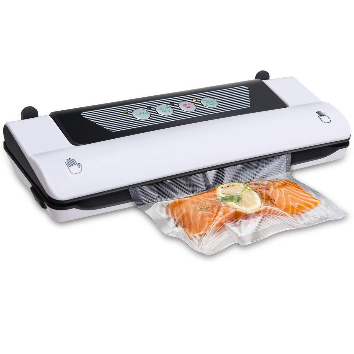 Goplus Electric Vacuum Sealer Automatic Food Packing Machine w/A Roll of Vacuum Bags for Food Preservation and Store White