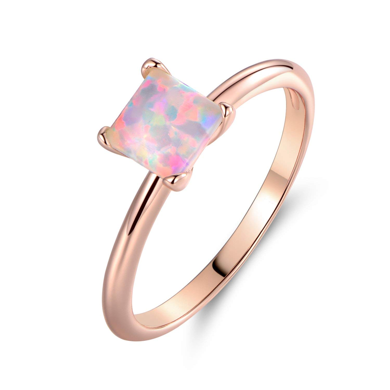 Barzel Rose Gold Plated Princess-Cut Created Fire Opal Solitaire Engagement Ring