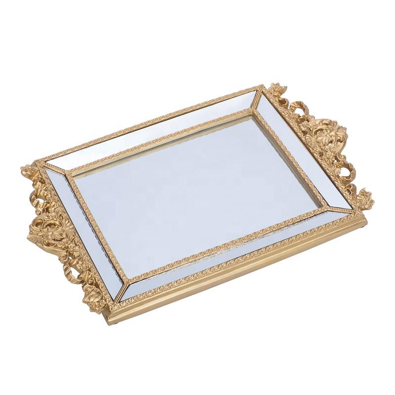 Vanity altın ayna tepsi kolları ile lüks dekoratif mücevher ekran reçine servis tepsisi düğün tatlı masa centerpiece