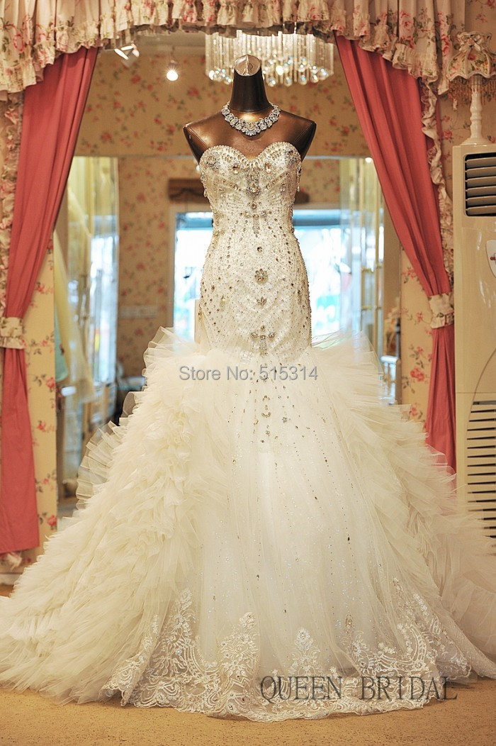 Tulle puffy luxury wedding dresses with diamonds and ...