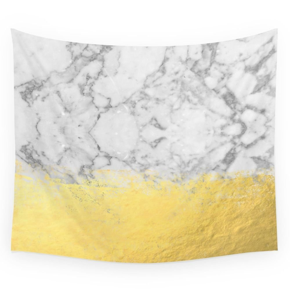 """Society6 Marble With Brushed Gold - Gold Foil, Gold, Marble, Black And White, Trendy, Luxe, Gold Phone Wall Tapestry Small: 51"""" x 60"""""""