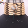 NXL-00935 sexy luxury multi row choker wide gold choker necklace with artificail pearl and rhinestone
