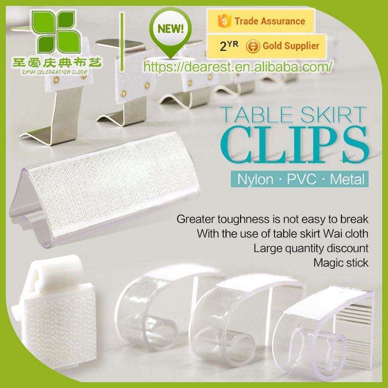 plastic&metal table skirt clips with vel cro and specifications available