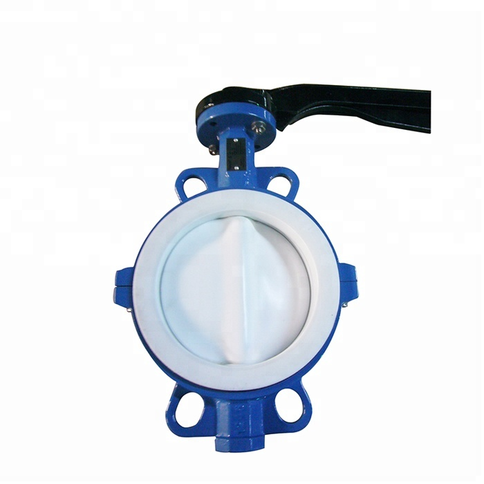 Ductile Iron One piece type PTFE Lined wafer butterfly valve for food