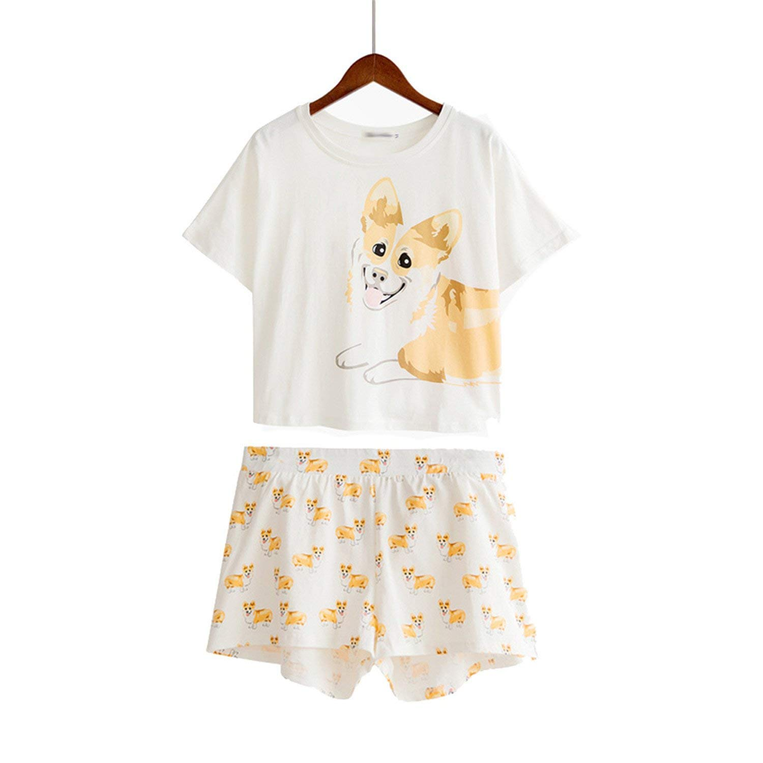 5cfcc76b4f Get Quotations · Dorathywatm Women Cute Dog Print Crop Top + Shorts 2  Pieces Set Cotton Loose Elastic Waist