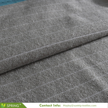 waterproof stripe design cotton surface terry cloth laminated with white TPU