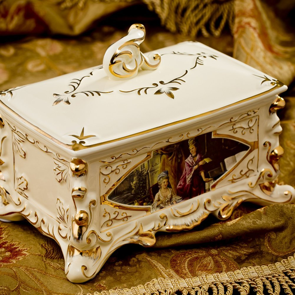European ceramic tissue box/Palace luxury high-end home tissue box/ creative wedding gift/Napkin-C