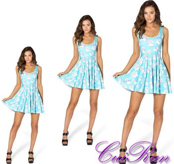 bd64dfbb18 Custom Design Women Summer Dress Cute Cat Digital Print Skater Dress N4-15