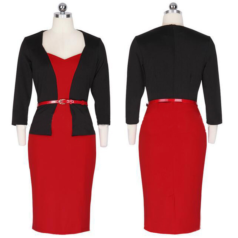 Wholesale cheap elegant ladies formal Womens 3/4 Sleeve office wear Business Pencil Dresses