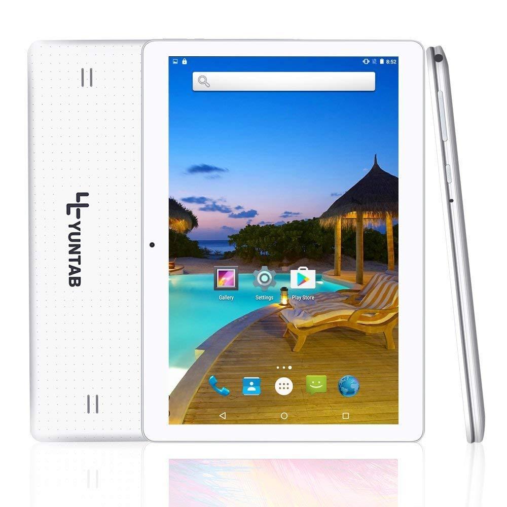 Yuntab K107 10.1 Inch Quad Core CPU MT6580 Cortex A7 Android 5.1,Unlocked Smartphone Phablet Tablet PC,1G+16G,HD 800x1280,Dual Camera,IPS,WiFi,G-sensor,GPS,Support 3G Dual SIM Card(White)