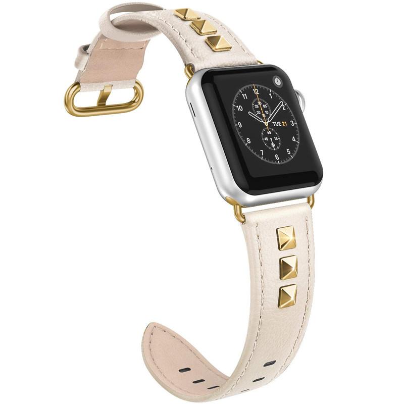 Потрясающие шпильки ремни с тонкой шипованных кожаный ремешок для Apple Watch заклёпки группа 40 мм