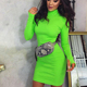 FS1798A Winter new women's high collar long sleeve slim midi dress