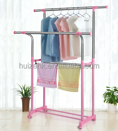 Folding colorful Garment Rack with Double Rod retractable clothes hanger