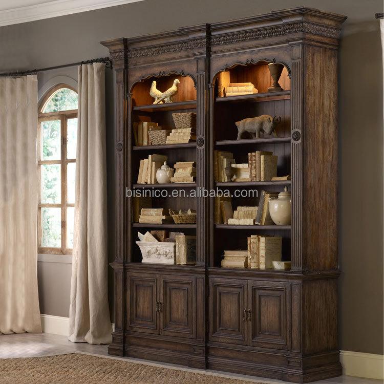Luxe bois massif sculpt la main meubles de maison salle for Bibliotheque de salon