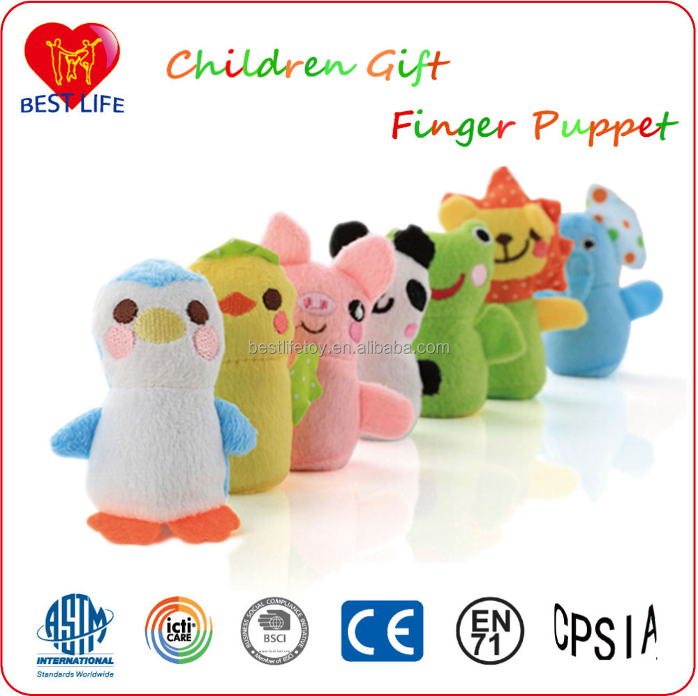 children gift cute promotion gift soft plush animal finger puppet for kids (PTALP0816015)