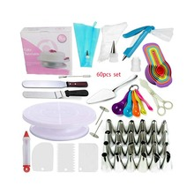 Cake Decorating Supplies <span class=keywords><strong>Kit</strong></span>/60 stks Set 1 <span class=keywords><strong>Taart</strong></span> Draaitafel Stand 2 Icing Spatels 24 Icing Tips 1 Cake Server 11 Gebak Ba
