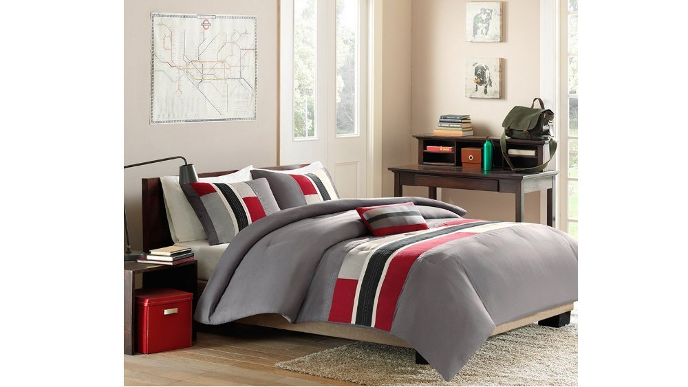 4 Piece Full Queen Grey Red Striped Comforter Set, Geometric Pattern Featuring Gray Rugby Stripes, Modern Circuit Design, Vibrant Colorful Bedding for Boys, Rectangle Blocks Patchwork White Black