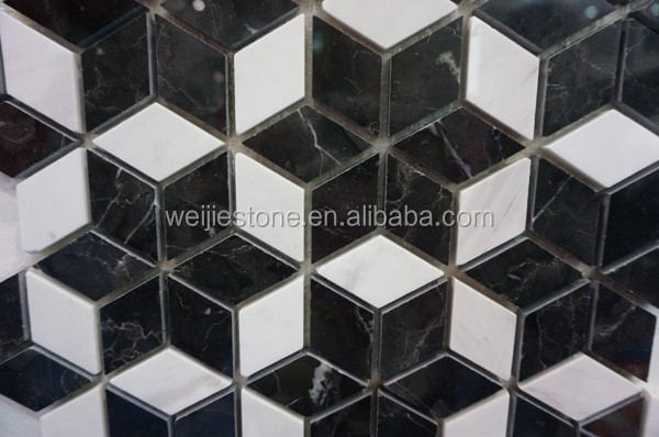 Diamond Shaped Black And White Marble Flower Mosaic Floor Tile