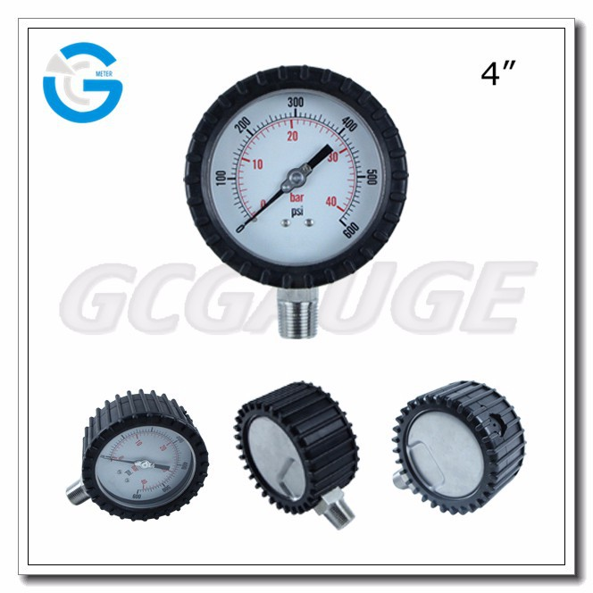 High Quality 100mm bottom type pressure gauge with rubber cover