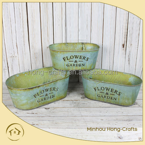 hot sales metal zinc green flower planters for garden