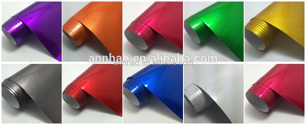 1.52*18M Sticker Bubble Free Gloss Glitter Red Metallic Sparkle Car Vinyl Wrap Film