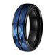8mm IP Black Blue Dual Plated Hammered Tungsten Carbide Ring Grooved Step Edges Wedding Band