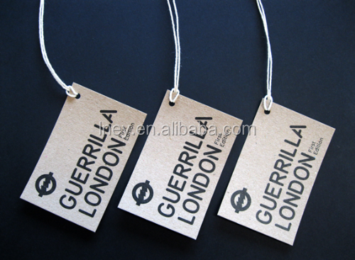 Custom hole punched matte varnish garment hangtag with string