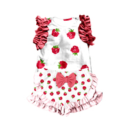 2018 spring and summer fashion children's short sleeve shorts cartoon lace cute kids suit