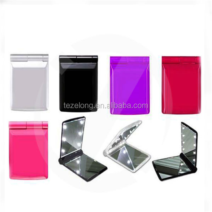 8 led light pocket mirror with led lights / Square LED makeup mirror square / promotion light up LED cosmetic mirror