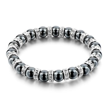 Magnetic Black Hematite 8mm Bead Stretch Bracelet With Alloy Spacer Beads Hematite Bead Bracelet
