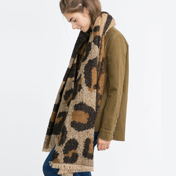 Autumn Winter Knit Scarf Animal Stripes Leopard Print Winter Scarf
